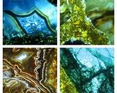 quartz print set, 4 photo set, gallery wall art, wall art set, four prints, blue print set, abstract print set, quartz art, blue wall art