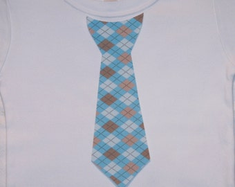 Boys Easter Light Blue Argyle Tie Shirt - sizes 0-3 months to size 6 - White Long or Short Sleeve