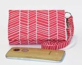 Cell Phone Wristlet Wallet, Crossbody Ready, Fits Most Smartphones, iPhone 6 6s Plus Wallet, Galaxy LG Nexus Moto X / Poppy Pink Herringbone