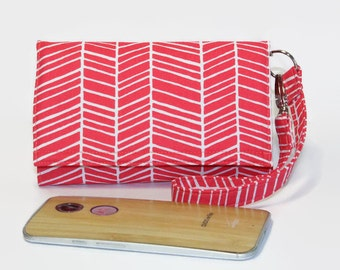 Cell Phone Wristlet Wallet, Crossbody Ready, Fits Most Smartphones, iPhone 6 6s Plus Wallet, Galaxy LG Nexus Moto X / Poppy Pink Herringbone