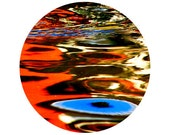 Colorful Reflection Photograph, Water, Blue, Orange, Home Decor, Yellow, Abstract, Circle, Round Image - 8x8 inch Print - Dream