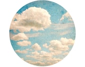 Blue Sky and Clouds Photograph, White, Light Blue, Whimsical, Home Decor, Circle, Round Image 8x8 inch Print, Whimsy - Circle