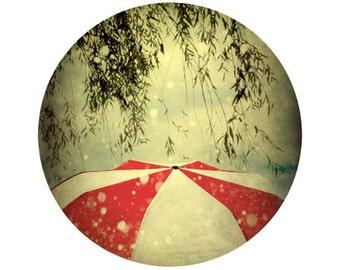Red and White Umbrella Print, Rain Photograph, Nature, Circle, Round Image - 8x8 inch Fine Art Print - It Can't Rain All the Ti