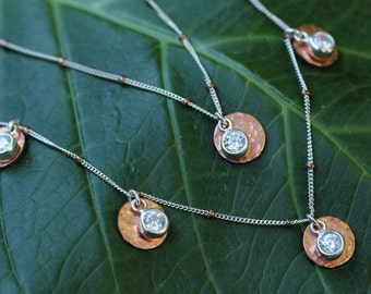Copper Cubic Zirconia 5 Disk Necklace