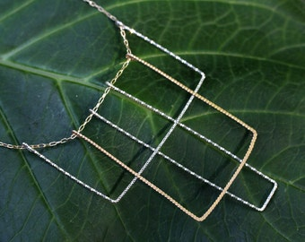 Art Deco Rectangles Two Toned Necklace