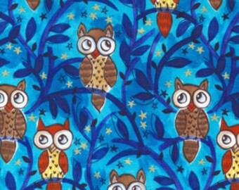 Brown Owls on Blue Cotton Fabric - Michael Miller Moonlit Owls Nite Owls cm4501-nite-d brown owls cotton fabric FAT QUARTER FQ or custom