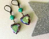 Heart of Glass Earrings iridescent glass hearts aqua blue pink sparkle pastels crystal cute kawaii
