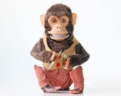 Vintage Monkey Toy, Clapping Monkey with Cymbals, Musical Jolly Chimp