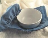 DENIM Bandana BLUE Floral Bowl Cozy Bowl Cover Washable Cotton Reversible Hot Pad ECO Friendly