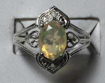 White opal silver ring