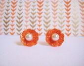 Pumpkin Spice Oceanpoppy Floral Earrings. Fall Oceanpoppy Studded Earrings. Shimmer Earrings. Whimsical Halloween themed Earrings. OOAK.