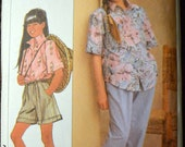 Vintage 80's Sewing Pattern Simplicity 9264 Girls' Shirt, Pull-on Pants, and Shorts Complete Size 7-14