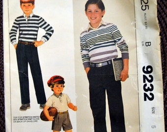 Vintage Sewing Pattern McCall's 9232  Boys' Top and Pants or Shorts  Size 5 Complete