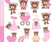 60% OFF SALE Clipart Baby Girl Teddy Bear 07357.. Commercial use digital clip art