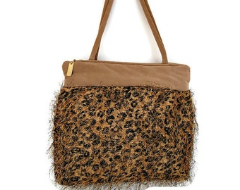 Leopard Shoulder Bag , Zipped Print Purse , Women's Handmade Handbag , Tan Over Shoulder Bag , Gift for Her
