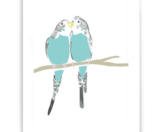 """Two Budgies 8"""" x 10"""" Art Reproduction"""