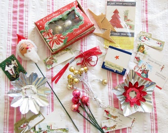 Christmas Goodies...Lot of Vintage Bits & Pieces for Holiday Projects