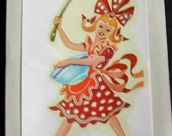 1940s Retro Kitchen DURO Decal Transfer Lady Polka Dot Red Dress Bowl Spoon Crafts Scrapbooking