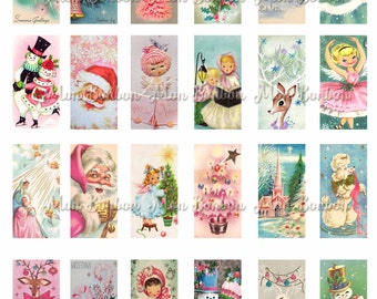 Vintage Pink Christmas Tags 1x2 inch - Instant Download - Print at Home - Vintage Christmas Card Domino Art Printables