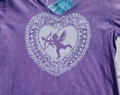 M Women's vee neck batik cupid valentine heart shirt, Medium