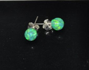 6mm Green Ball Stud Earrings, Opal Earrings, Sterling Silver Earrings,  Australian Opal, 925 Sterling Silver, Green Opal, Kelly Green