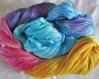 Hand dyed Tencel Yarn - 6/2 Tencel Lace Wt. Yarn   WHIMSICAL - 630 yards