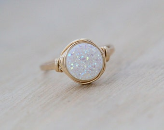 Druzy Ring Gold , Rose Gold , Sterling Silver , Opal White Quartz Stone , Bezel Wrapped Solitaire Stacking Rings - Confetti Cream