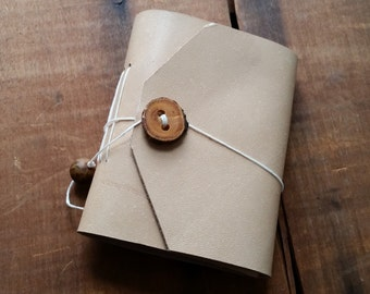 Smooth Yellow Leather, wood button,Small Handbound Leather Journal Book