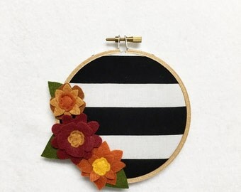 Fabric Wall Art, Embroidery Hoop Art, Harvest Stripes, Floral Wall Decor, Hoop Wall Hanging, Felt Flower Hoop, Wedding Decor