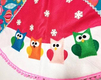 Christmas Tree Skirt, Tree Skirt, Jingle Jangle, Owls, Vintage inspired, Woodland Animals, Felt Animal