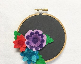 Fabric Wall Art, Embroidery Hoop Art, Jewel Petals, Floral Wall Decor, Hoop Wall Hanging, Felt Flower Hoop, Gift under 20