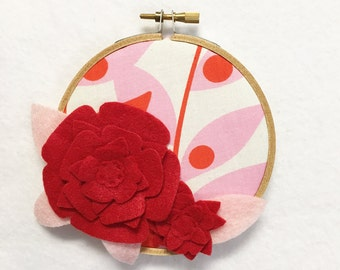 Flower Wall Art, Embroidery Hoop Art, Red Petals, Wedding Decor, Floral Wall Decor, Hoop Wall Hanging, Felt Flower Hoop