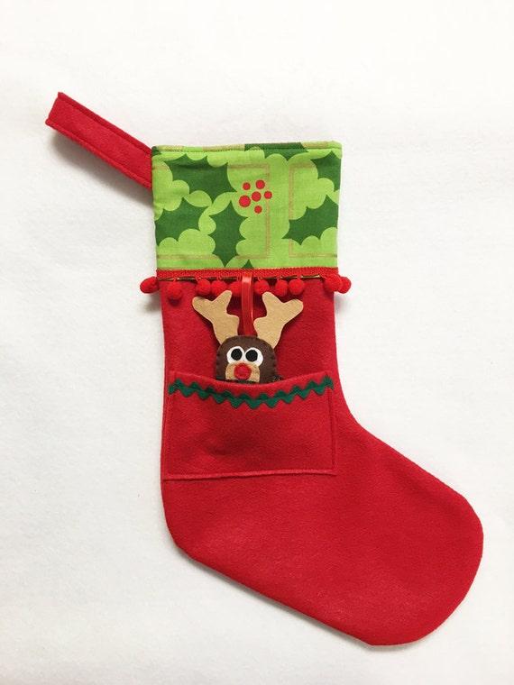 Felt Stocking, Christmas Stocking, Pocket Stocking, Reindeer - Holly Jolly, Geometric Gold, Red Stocking