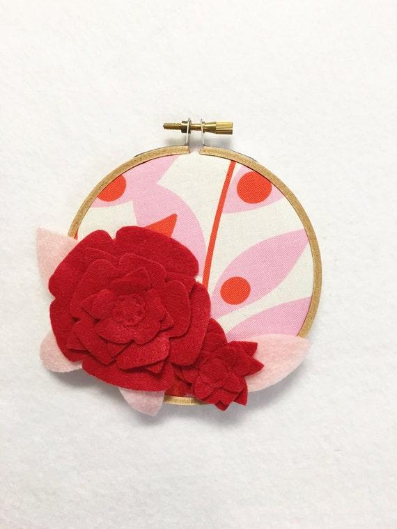 Flower Wall Art, Embroidery Hoop Art, Red Petals, Wedding Decor, Floral Wall Decor, Hoop Wall Hanging, Felt Flower Hoop