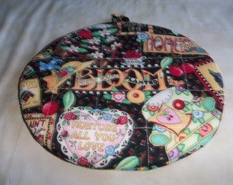 Mary Engelbreit, Quilted Pot Holders, Potholders, Quilted  Hot Pads, Trivet, Round, Handmade, 9 Inches, Double Insulated, Gift
