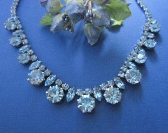 Vintage Rhinestone Necklace blue necklace