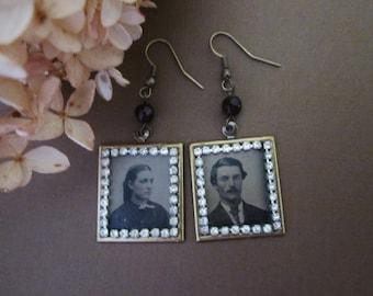 Antique Tintype Earrings with Rhinestones