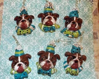 Folk Art English Bull Dog Ornament Party Christmas Vintage Nostalgic Style Handmade