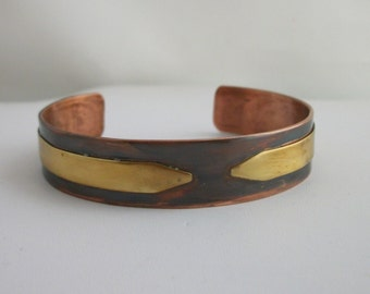 Antiqued copper and brass bracelet, rustic copper jewelry - hand forged mixed metal bracelet - MEDIUM