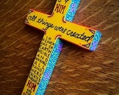 By Him All Things Were Created... - Hand-painted Wood Cross