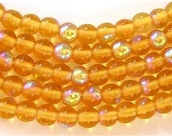 NEW 100 Round Czech Glass Beads TOPAZ AB 4mm
