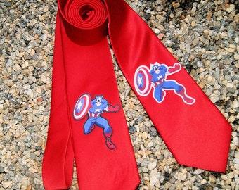 Captain Superhero Geeky Cosplay Mens Tie - MTCoffinz - Ready to Ship (Black)
