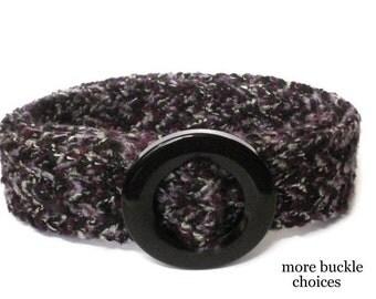 Black Fabric Belt /  Purple Woven Belt / Wide Belt for Women / Trench Coat Belt / Tweed Belt (Black Purple Weave)