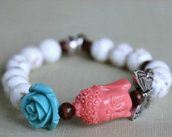 Buddha Bracelet, Stretch Bracelet, Butterfly, Flower, Meditation, Zen, Wood Bead, Yoga, Spiritual Jewelry, Gift For Her, Gift Ideas,