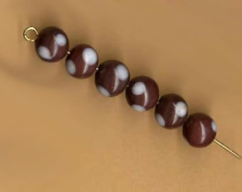 vintage japanese glass beads, brown with white dots, six 8mm polka dot beads rare set ART GLASS BEADS antique bead set