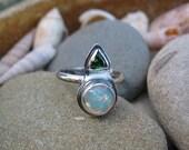 Ethiopian Opal Ring, Sterling Silver, Tsavorite Garnet, Artisan Jewelry, Contemporary