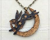 Lunar Hare engraved pendant