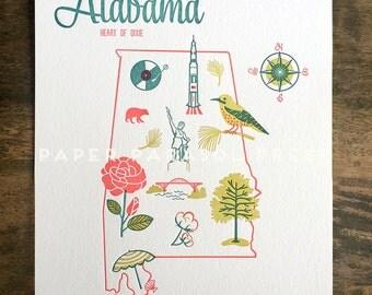 Alabama State Letterpress Print 8x10 - SALE