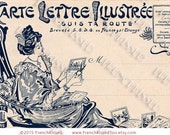 Woman with Scissors Art Nouveau French Illustrated Postcard letter Carte Lettre Design Template Digi Clip Art
