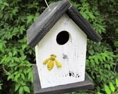 Primitive Birdhouse White Black Yellow Bumble Bee